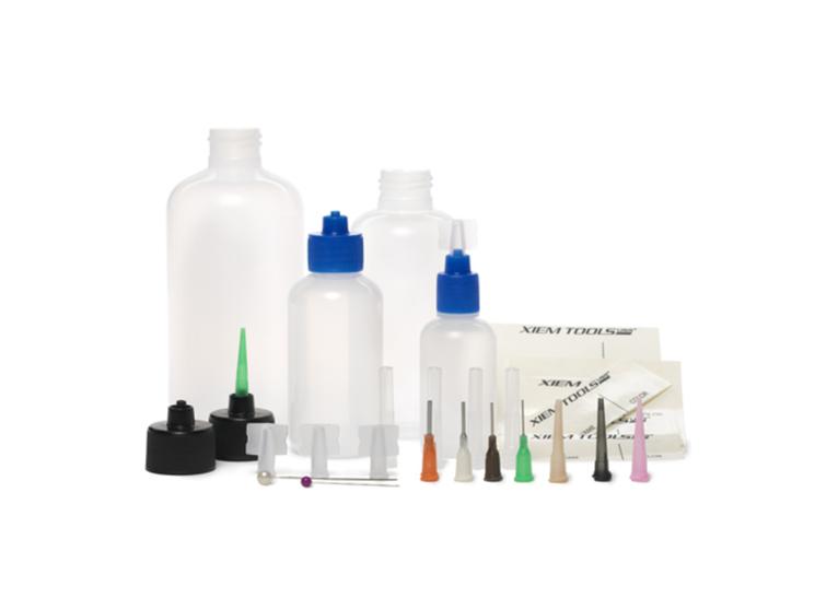 Slip Trailer Kit: includes 4 bottles (1, 2, 4 & 8oz), 4 caps & 8 tips