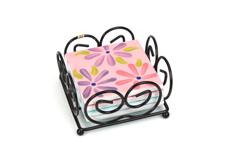Coaster Set W/Stand: 1/cs: 3.5squ