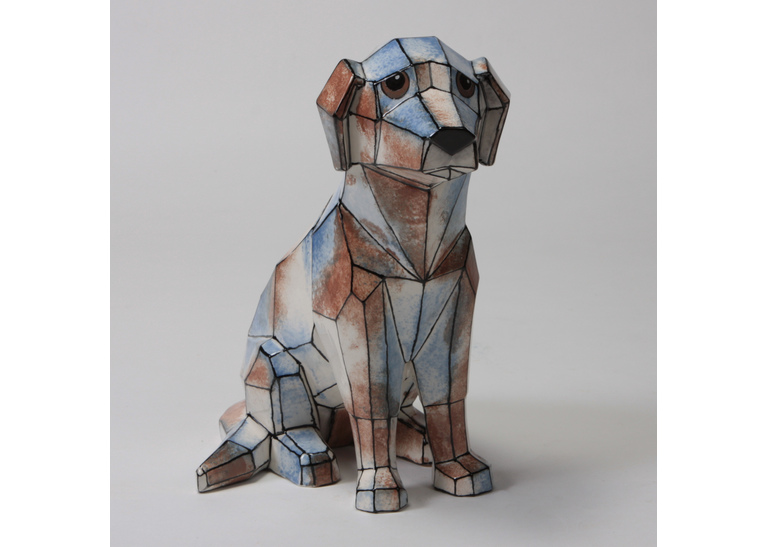Faceted Dog by Mayco: 9.5 x 9.5 x 5.75W