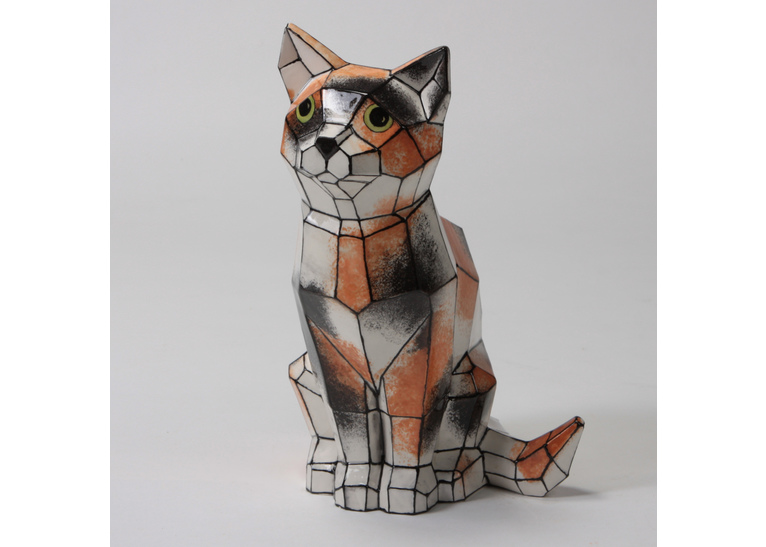 Faceted Cat by Mayco: 9.75 x 5 x 6.25W